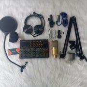 Bộ thu âm livestream mic AQTA 220 Sound card K300 - Full chân màn kẹp mic