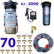 Bộ phun sương 70 đầu phun - Bơm Hawin KJ 2000 lọc rác 100M dây