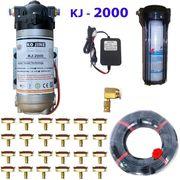 Bộ phun sương 60 đầu phun - Bơm Hawin KJ 2000 lọc rác 80M dây