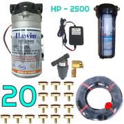 Bộ phun sương 20 đầu phun - Bơm Hawin HP 2500 lọc rác 20M dây