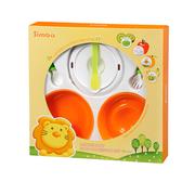 Bộ tập ăn dặm thìa, nĩa, chén và chế biến thức ăn 4 trong 1 simba (màu cam)