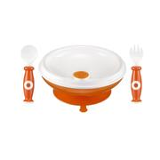 Bộ tập ăn dặm thìa, nĩa và chén giữ nhiệt đế cao su simba (màu cam)