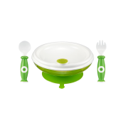 Bộ tập ăn dặm thìa, nĩa và chén giữ nhiệt đế cao su simba (màu xanh lá)