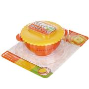 Chén tập ăn nắp hình bánh quy với hai lớp chống nóng và đế cao su simba (màu cam)