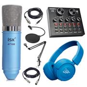Combo mic ISK AT100 Soundcard V8 JBL 450BT chân màn kẹp