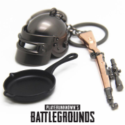 (Hot Deal) Bộ combo 3 móc khóa PUBG Mũ cối - lựu đạn - Súng có bán lẻ từng món