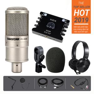 Bộ micro thu âm livestream K200 kết hợp Soundcard XOX KS108 - Full chân màn kẹp tai nghe JBL 450 và dây live