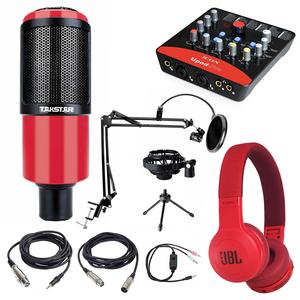 Combo micro thu âm Takstar K320 Soundcard Upod Pro Ma2 chân màn kẹp