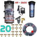 Bộ phun sương 20 đầu béc phun - Bơm Hawin HP 2600 cốc lọc rác 20M dây