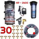 Bộ phun sương 30 đầu phun - Bơm Hawin HP 2600 lọc rác 40M dây