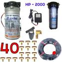 Bộ phun sương 40 đầu phun - Bơm Hawin HP 2000 lọc rác 100M dây