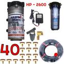 Bộ phun sương 40 đầu phun - Bơm Hawin HP 2600 lọc rác 100M dây