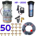 Bộ phun sương 50 đầu phun - Bơm Hawin HP 2000 lọc rác 100M dây