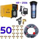 Bộ phun sương 50 đầu phun - Bơm Hawin HP 2106 lọc rác 100M dây
