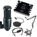 Combo mic Technical AT2020, Soundcard KS108, MA2, Chân màn kẹp