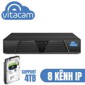 Đầu ghi Vitacam NVR V8 không dây -  Kết nối lưu trữ 8 camera ip Vitacam