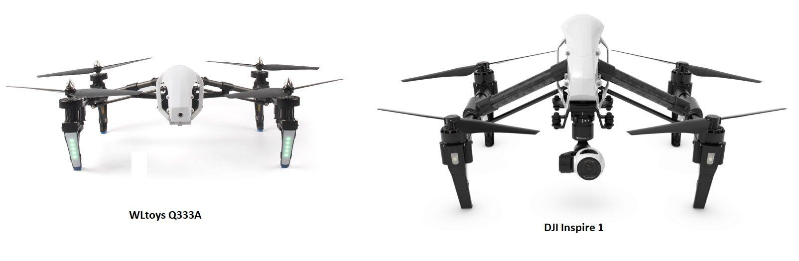 flycam WLtoys Q333A và DJI Inspire 1