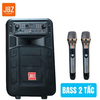 Loa kẹo kéo di động JBZ 0809 - Bass 2 tấc tặng 2 micro không dây