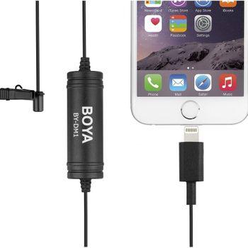 Micro thu âm cho iPhone gắn áo Boya By DM1 - Jack Cổng lightning cho IOS