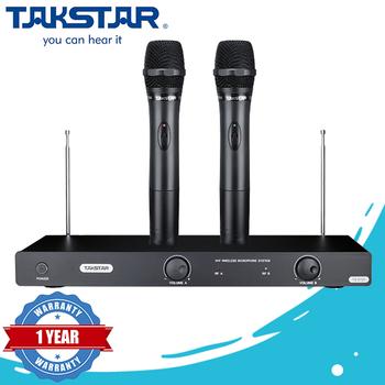Micro karaoke không dây Takstar TS 6720 - Trọn bộ đi kèm 2 mic và đầu thu (Black)