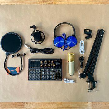 Bộ thu âm chất lượng cao soundcard Sk300 plus micro bm900 tặng tai ngheExtra Bass XB450AP