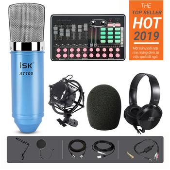 Bộ thu âm livestream tại nhà ISK AT100 kết hợp soundcard H9 bluetooth ấn tượng