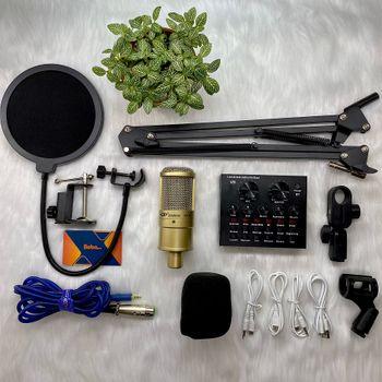 Combo mic thu âm AQTA 220 cùng Soundcard V8 chân kẹp màn lọc