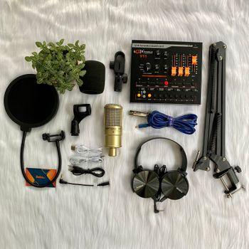Bộ mic thu âm livestream AQTA 220 với Soundcard V11