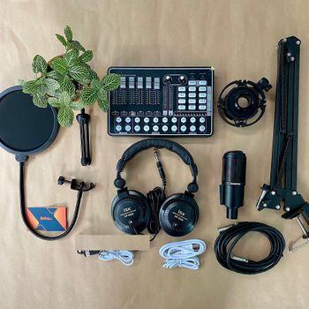 Combo micro PC K320 Souncard H9 Chân kẹp màn lọc đầy đủ Full Livestream