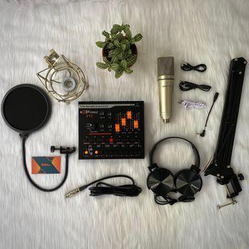 Combo Micro thu âm livestream Max-79 cùng Soundcard V11