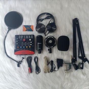 Combo Micro thu âm PC-K220 - Sound card Icon Upod Pro Tai nghe XB450AP Chân màn giá kẹp