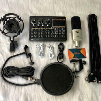 Combo soundcard X6  Mic thu âm S700 giá kẹp màn lọc.