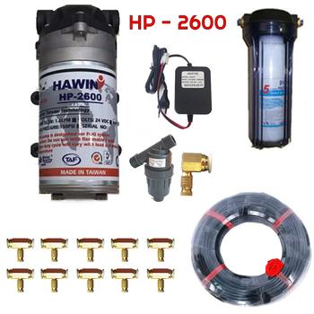 Bộ phun sương 10 đầu béc phun - Bơm Hawin HP 2600 cốc lọc rác 10M dây