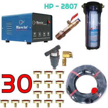Bộ phun sương 30 đầu phun - Bơm Hawin HP 2807 lọc rác 40M dây