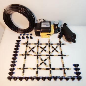 Hệ thống phun sương 40 béc 5 hướng đầu đồng - Bơm Lion 0.5HP