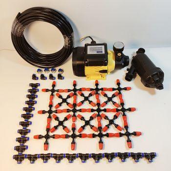 Hệ thống phun sương tưới lan 45 béc 4 hướng nhựa - Bơm Lion 0.5HP