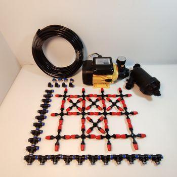 Hệ thống phun tưới 40 béc 4 hướng đầu tưới nhựa - Bơm Lion 0.5HP