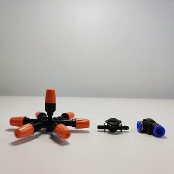 Béc 7 hướng đầu nhựa cam có van bù áp chống gỉ nước