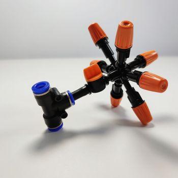 Béc phun 7 hướng cam nhựa có van khóa ống