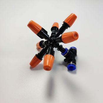 Béc phun tưới 7 hướng cam đầu nhựa