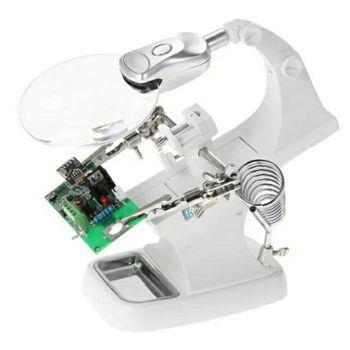 Kính lúp để bàn sữa chữa 5X K8 có đèn led và khay dụng cụ
