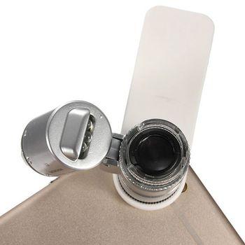 Kính lúp mini 60x kẹp điện thoại Z60 - Có đèn phân cực soi tiền giả