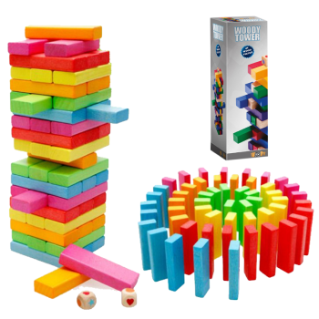 Bộ trò chơi rút gỗ màu lớn Jenga T9 - Gỗ tự nhiên