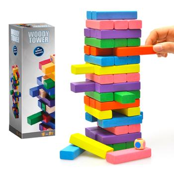 Bộ trò chơi rút gỗ màu nhỏ Jenga T6 - Gỗ tự nhiên