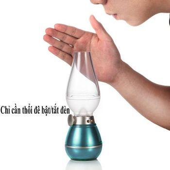 Đèn thần cảm ứng pin sạc thổi tắt sáng