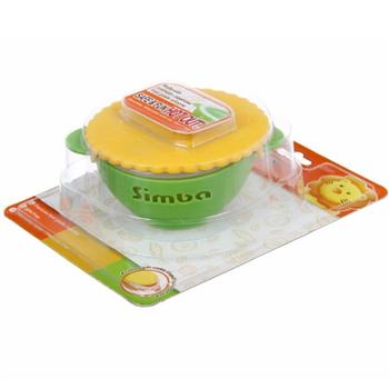 Chén tập ăn nắp hình bánh quy với hai lớp chống nóng và đế cao su simba (màu xanh lá)