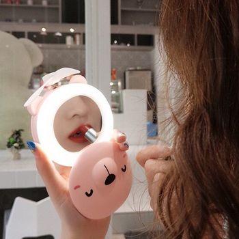 Quạt cầm tay mini 3 IN 1 Tiktok kiêm gương soi led heo dễ thương