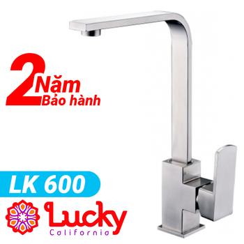 Vòi rửa bát nóng lạnh cao cấp LK 600 Lucky - Chính hãng Inox mờ