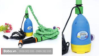 Bộ bơm rửa xe 12V tăng áp tại nhà Chejieba - Siêu tiết kiệm nước