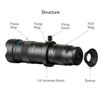 Lens telezoom cho điện thoại siêu Zoom 28x cao cấp H27 Apexel